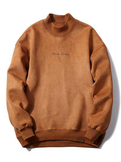 Chest Letter Print Solid Color Suede Sweatshirt - Light Brown L