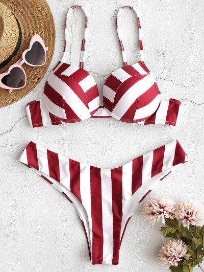 ec3e0c27d25638 ZAFUL Striped Underwire Bikini Set - Firebrick M