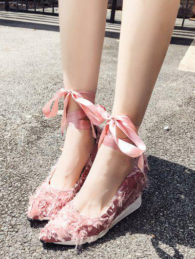 Lace Up Frayed Trim Satin Shoes - Light Pink 37