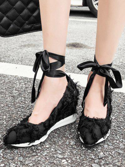 Lace Up Frayed Trim Satin Shoes - Black 39