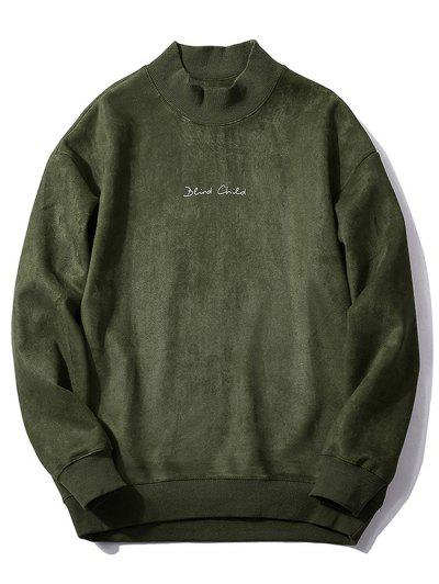 Chest Letter Print Solid Color Suede Sweatshirt - Army Green Xs