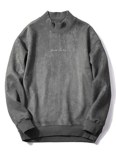 Chest Letter Print Solid Color Suede Sweatshirt - Dark Gray M