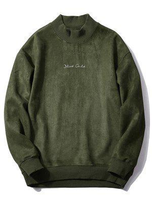 Brust Brief drucken einfarbig Wildleder Sweatshirt