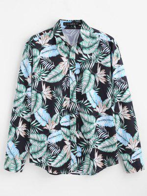 ZAFUL Lässige tropische Blätter bedrucktes Hemd