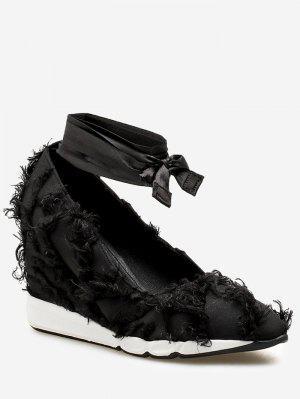 Ankle Wrap Slip-on Satin Sneakers