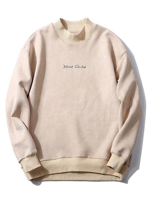 Chest Letter Print Solid Color Suede Sweatshirt, Warm white