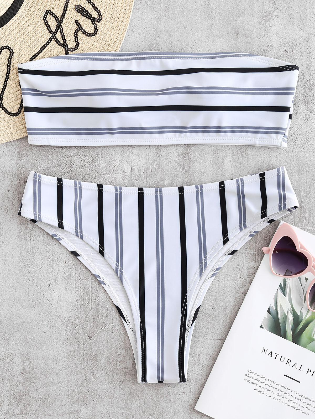 ZAFUL Stripe Padded Bandeau Bikini Set, White