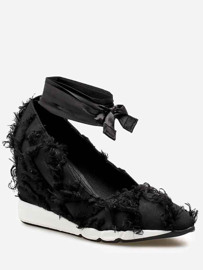 Lace Up Frayed Trim Satin Shoes