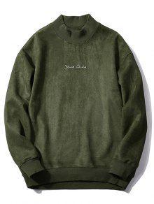 البلوز الصدر إلكتروني طباعة بلون سويدي  - الجيش الأخضر L