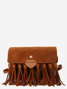 حقيبة كروس مزينة بشرابة - بنى