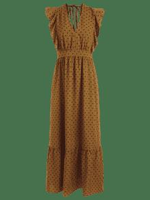 Volantes Marr ZAFUL Plunge 243;n Maxi Dress Con S Lunares vCwSxqC