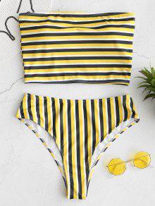 ZAFUL Striped Bandeau High Cut Bikini Set - متعدد L