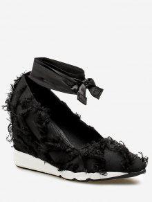 ربط الحذاء حتى أحذية المتوترة تريم الحرير - أسود 36