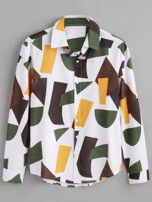 ZAFUL لون كتلة هندسي طباعة قميص - متعدد L