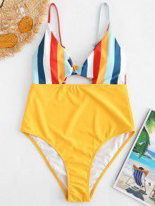 ZAFUL السامي قص تويست ملون مخطط ملابس السباحة - المطاط الحبيب الأصفر Xl