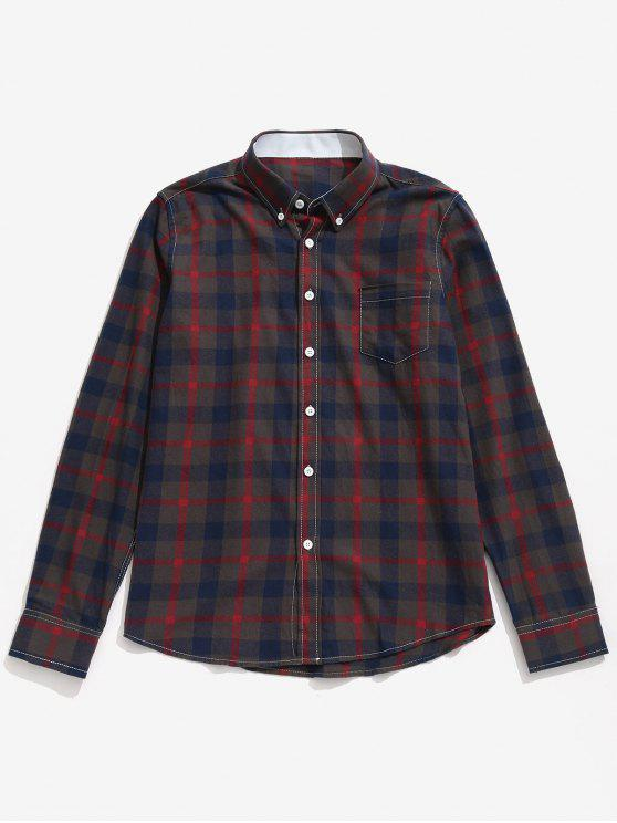 trendy Chest Pocket Button Down Checked Shirt - RED XS