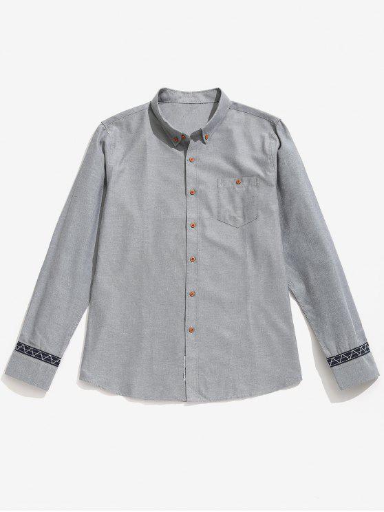 Camisa de botones de detalle de parche informal - Gris L