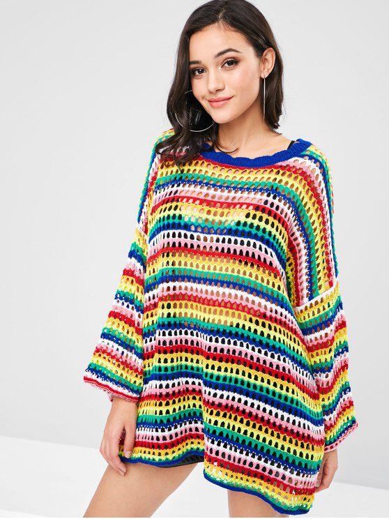 lady Openwork Colorful Sweater Dress - MULTI ONE SIZE