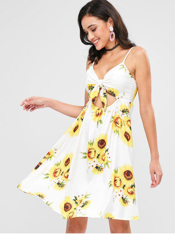 fancy Sunflower Print Tie Front Sundress - WHITE L