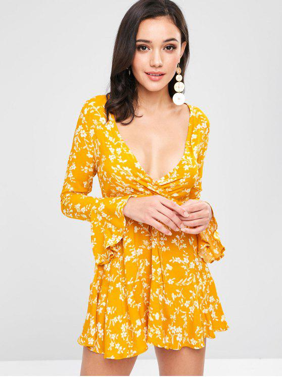 فستان بأكمام قصيرة مزينة برسمة الأزهار - نحلة صفراء L