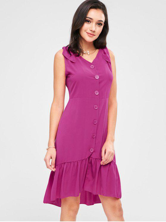 ladies Ruffle Hemline Button Up Mini Dress - ROSE RED M