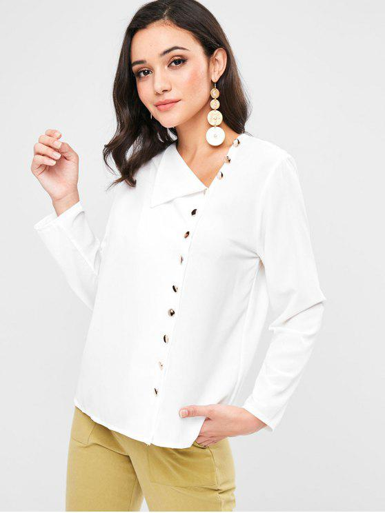ladies Button Up Long Sleeve Blouse - WHITE XL