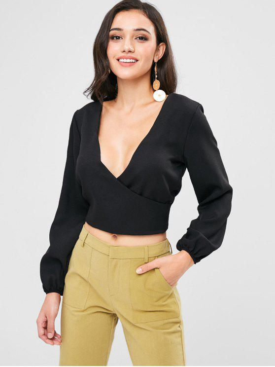 new Low Cut Backless Overlap Blouse - BLACK S