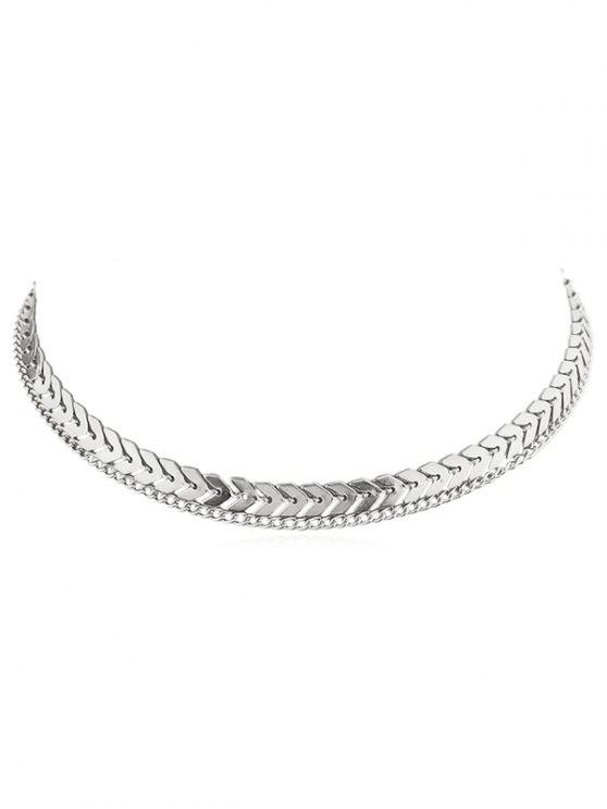 outfits Layer Fishbone Chain Necklace - SILVER