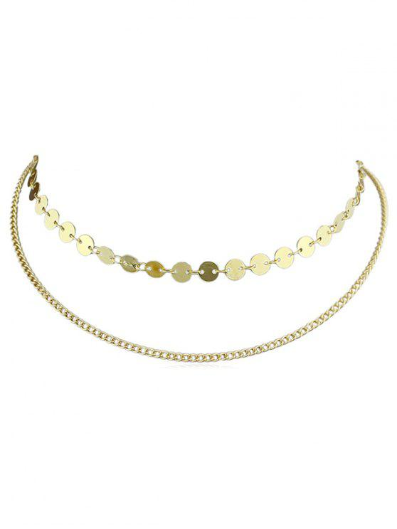 fashion Alloy Layer Chain Disc Necklace - GOLD