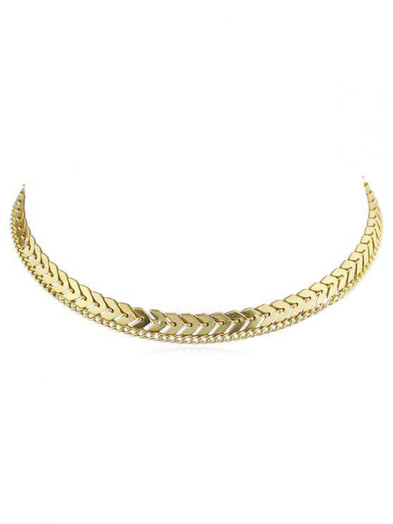 Collar de cadena de espina de pescado de capa - Oro