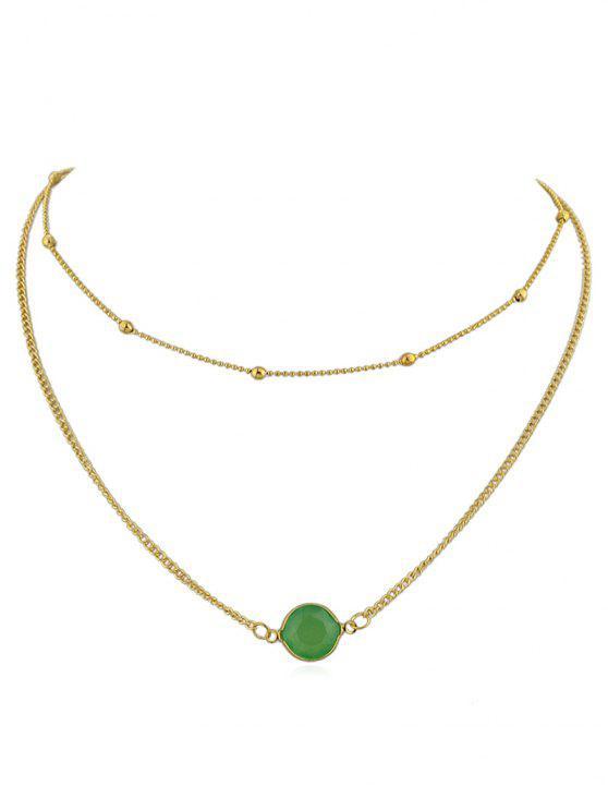 sale Layer Artificial Gem Pendant Chain Necklace - GREEN