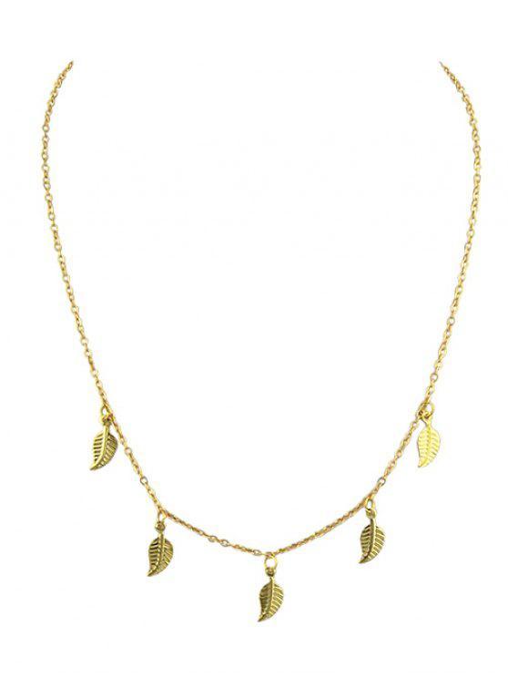 Blätter Design Legierung Kette Halskette - Gold