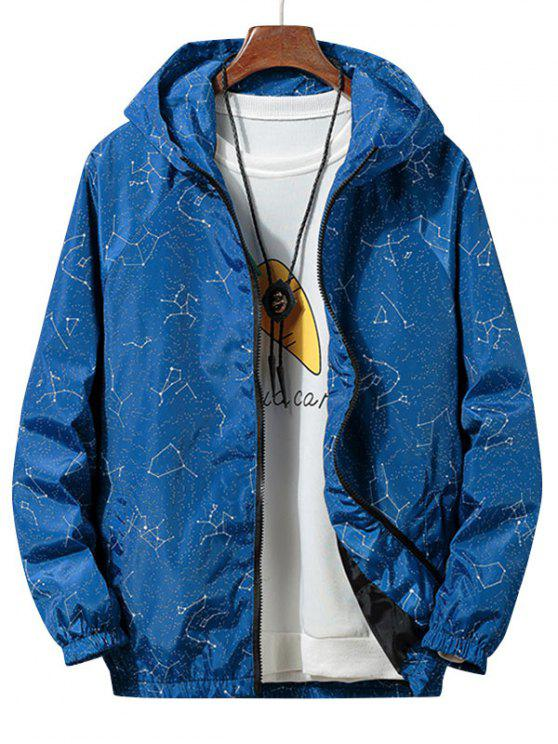 online Constellation Print Waterproof Hooded Jacket - BLUE JAY S