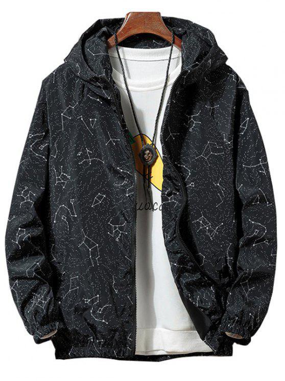 fashion Constellation Print Waterproof Hooded Jacket - BLACK S