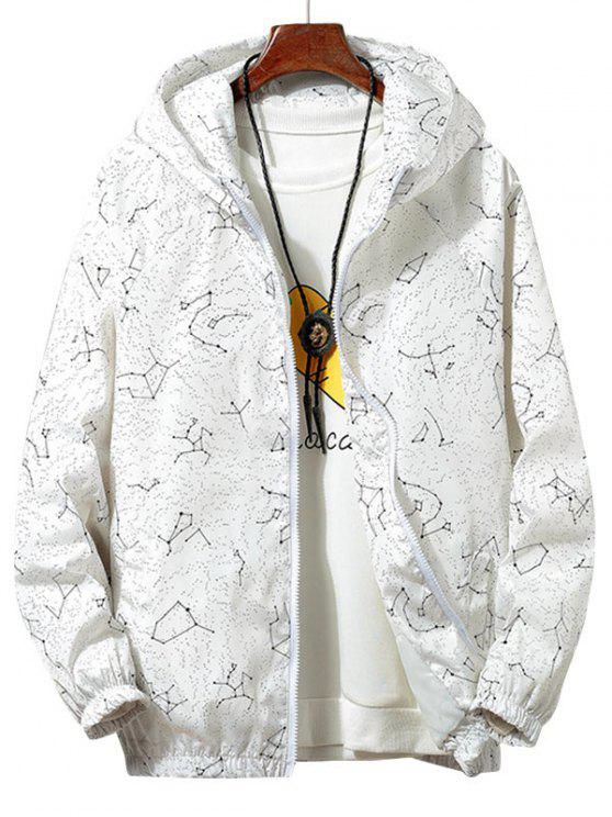 best Constellation Print Waterproof Hooded Jacket - WHITE XL
