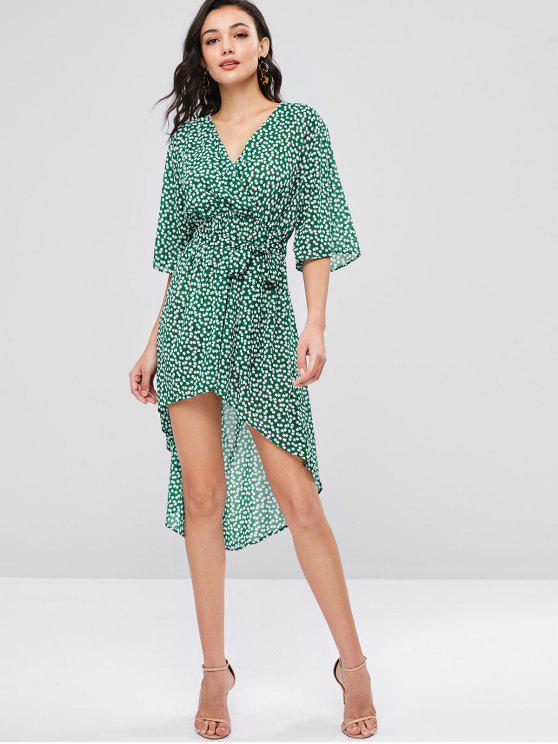 fancy ZAFUL Floral Surplice Asymmetrical Dress - DEEP GREEN L