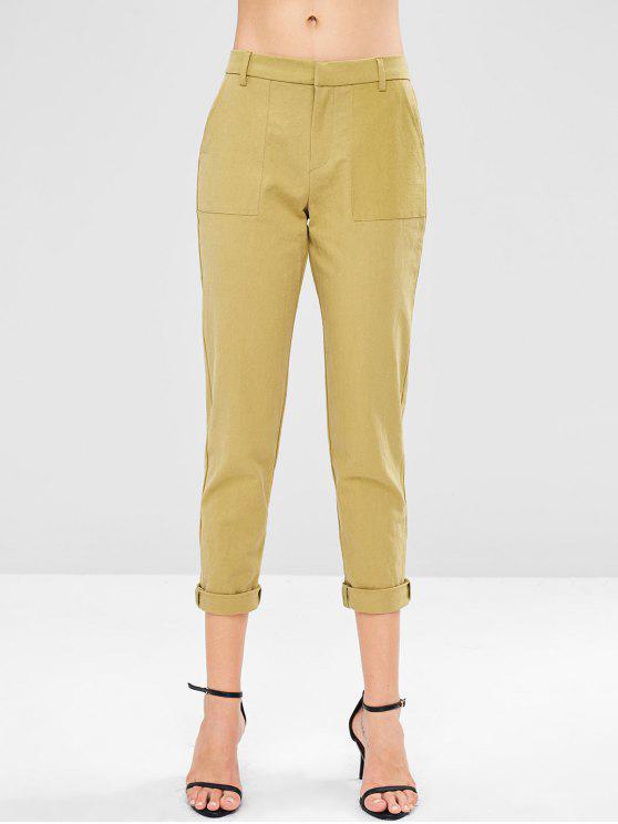 nuevo producto d42ac bda1e Pantalones capri lisos de cintura baja AVOCADO GREEN