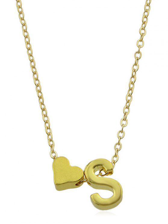 hot Heart Letter Designed Chain Necklace - GOLD