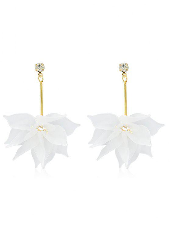 Boucles d'oreilles en strass à motif floral - Blanc