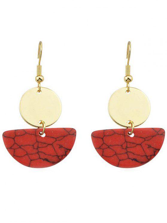 Brincos de gota semicírculo redondos - Vermelho