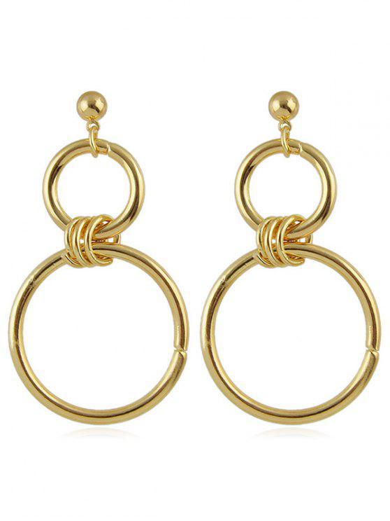 shops Double Circle Pendant Earrings - GOLD