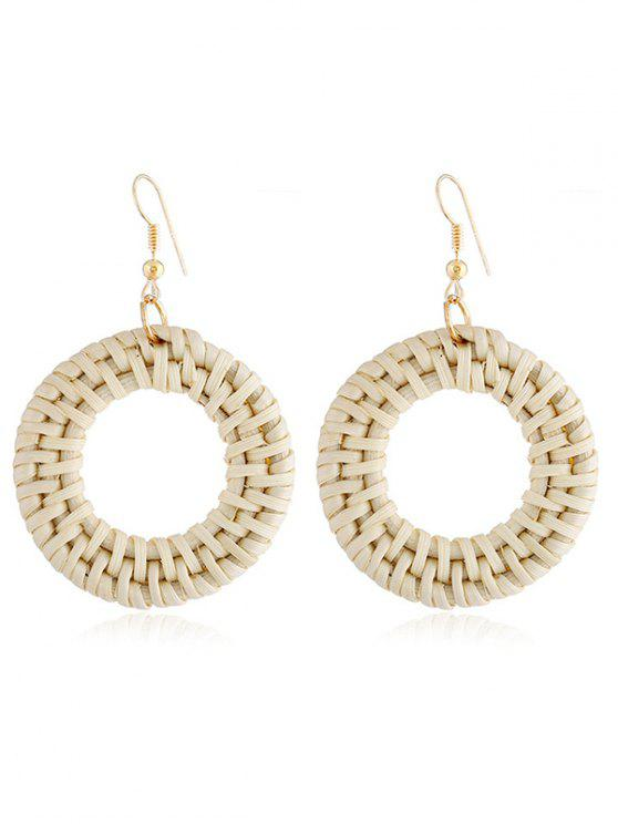 Círculo Design Rattan Knit Drop Earrings - Milho de Seda