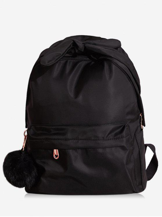 women's Bowknot Top Handle Solid School Backpack - BLACK