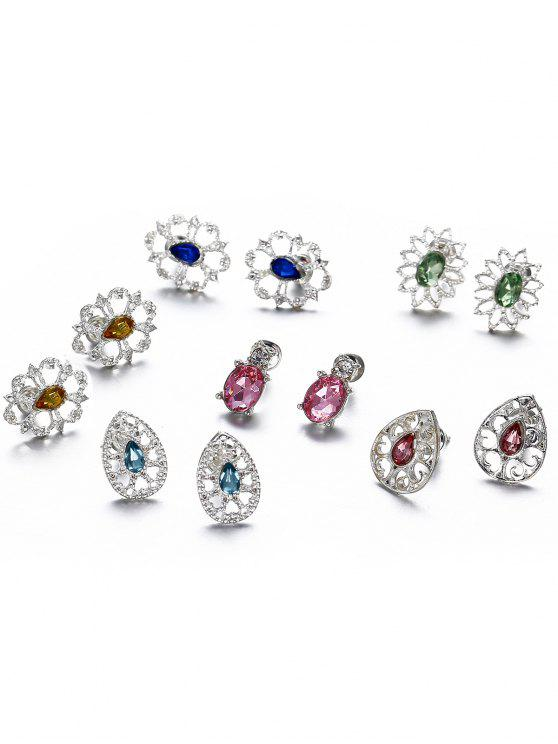 new Water Drop Hollow Out Stud Earrings Suit - MULTI-A