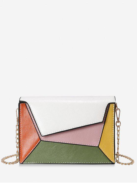 Color Block PU Leather Chain Crossbody Bag - Blanco