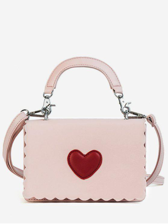 buy Heart PU Leather Flap Crossbody Bag - PINK