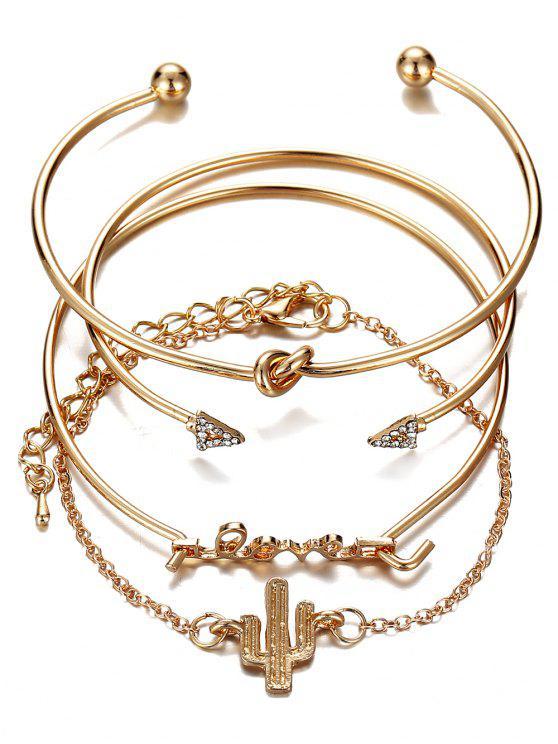 outfit Vintage Rhinestone Arrow LOVE Alloy Bracelet Set - GOLD