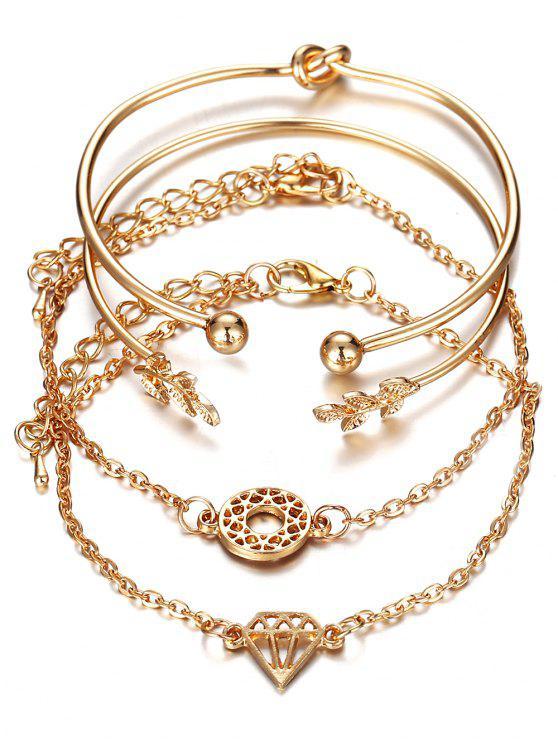 Strass Blatt Diamant Knoten Manschette Armband Anzug - Gold
