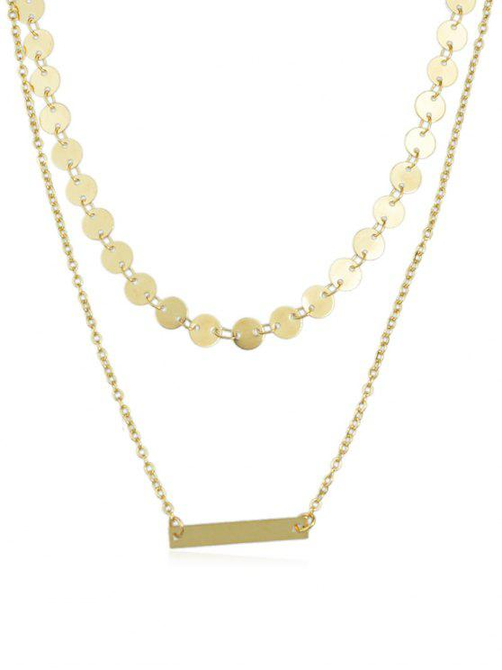 shops Layered Alloy Chain Disc Necklace - GOLD