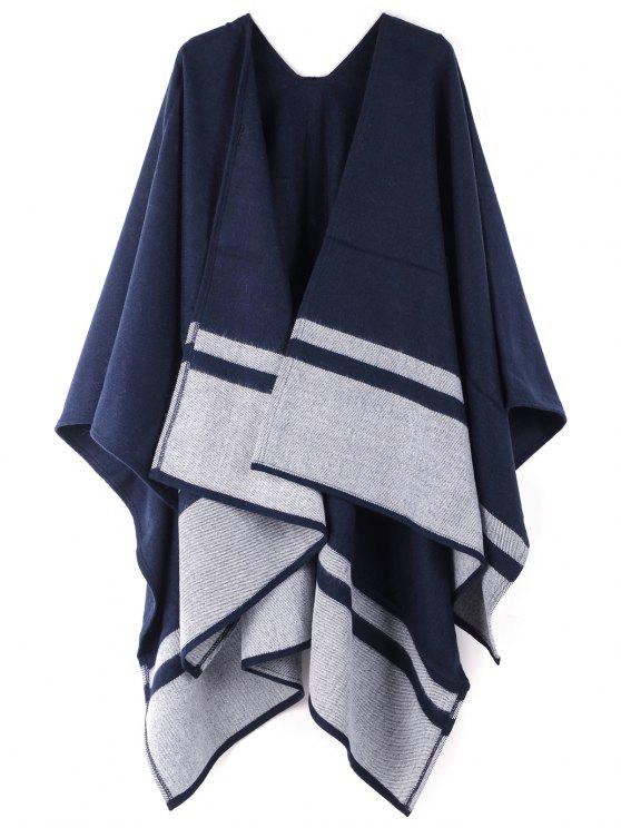 Bufanda de gran tamaño del chal de patrón a rayas - Lapislázuli UN TAMAÑO